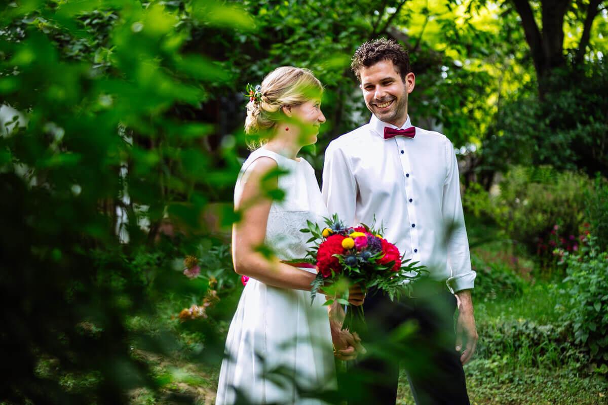 Esküvő fotózás során készült fotó Kingáról és Laciról.